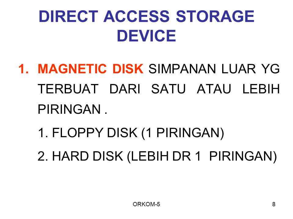 DIRECT ACCESS STORAGE DEVICE