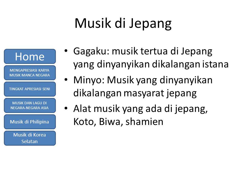 Musik di Jepang Gagaku: musik tertua di Jepang yang dinyanyikan dikalangan istana. Minyo: Musik yang dinyanyikan dikalangan masyarat jepang.