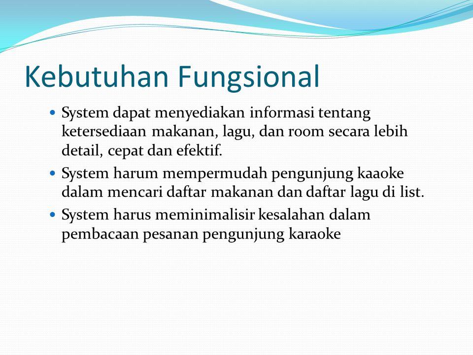 Kebutuhan Fungsional System dapat menyediakan informasi tentang ketersediaan makanan, lagu, dan room secara lebih detail, cepat dan efektif.