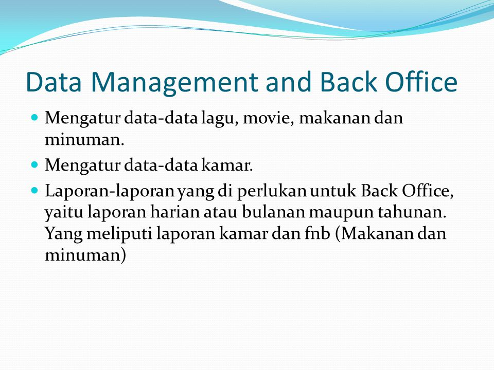 Data Management and Back Office