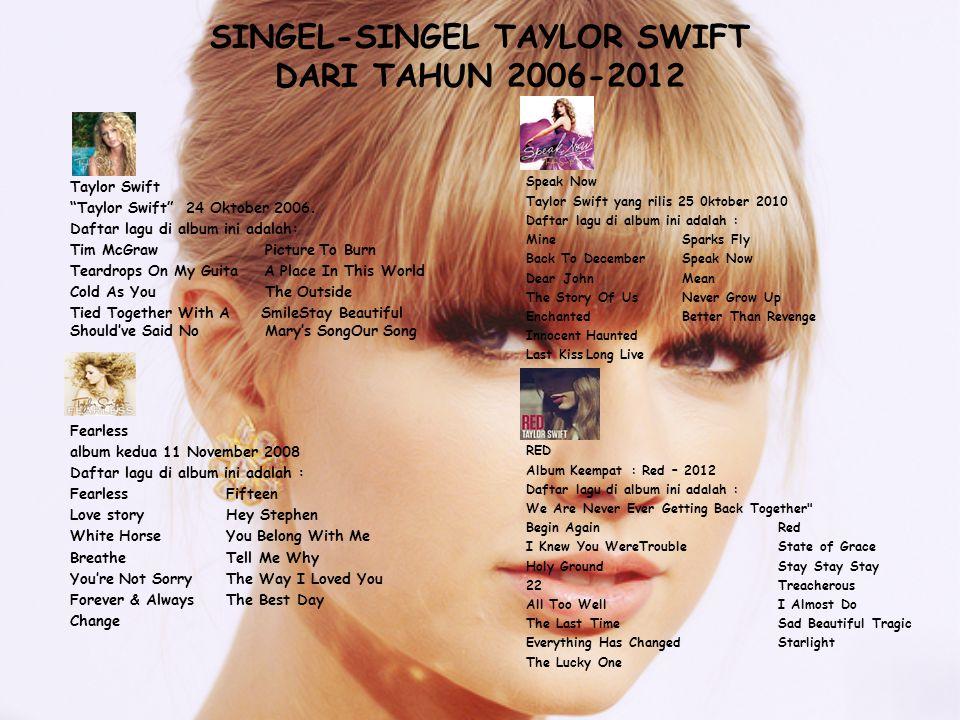 SINGEL-SINGEL TAYLOR SWIFT DARI TAHUN 2006-2012