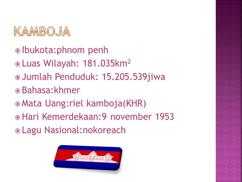 Kamboja Ibukota:phnom penh Luas Wilayah: 181.035km2
