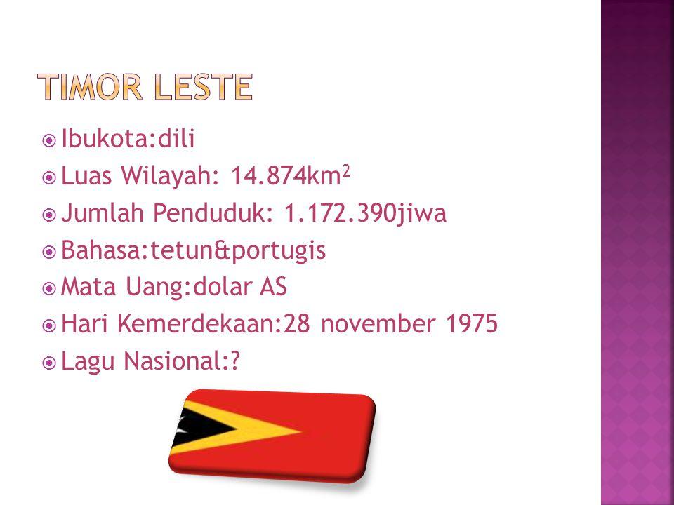 Timor leste Ibukota:dili Luas Wilayah: 14.874km2