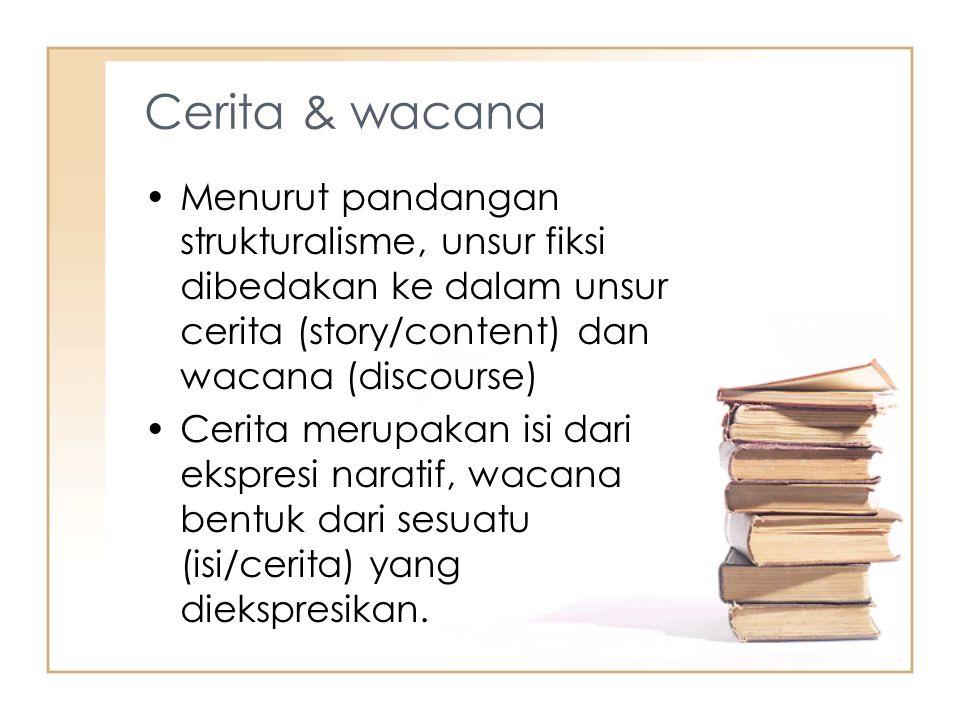 Cerita & wacana Menurut pandangan strukturalisme, unsur fiksi dibedakan ke dalam unsur cerita (story/content) dan wacana (discourse)