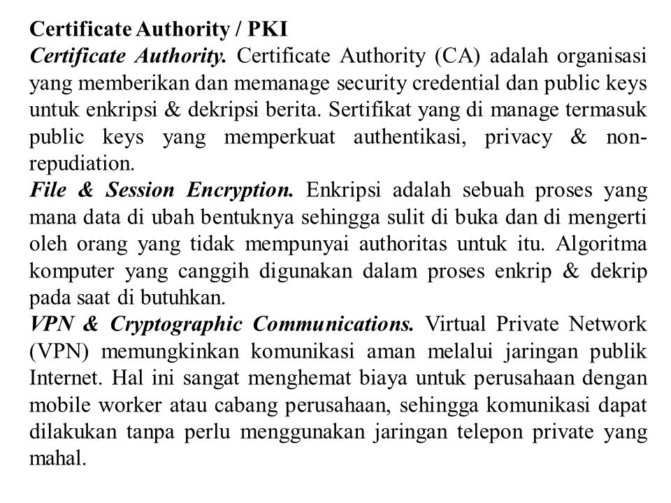 Certificate Authority / PKI