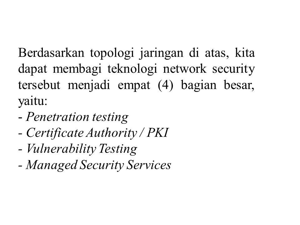 Berdasarkan topologi jaringan di atas, kita dapat membagi teknologi network security tersebut menjadi empat (4) bagian besar, yaitu: