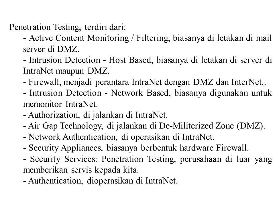 Penetration Testing, terdiri dari: