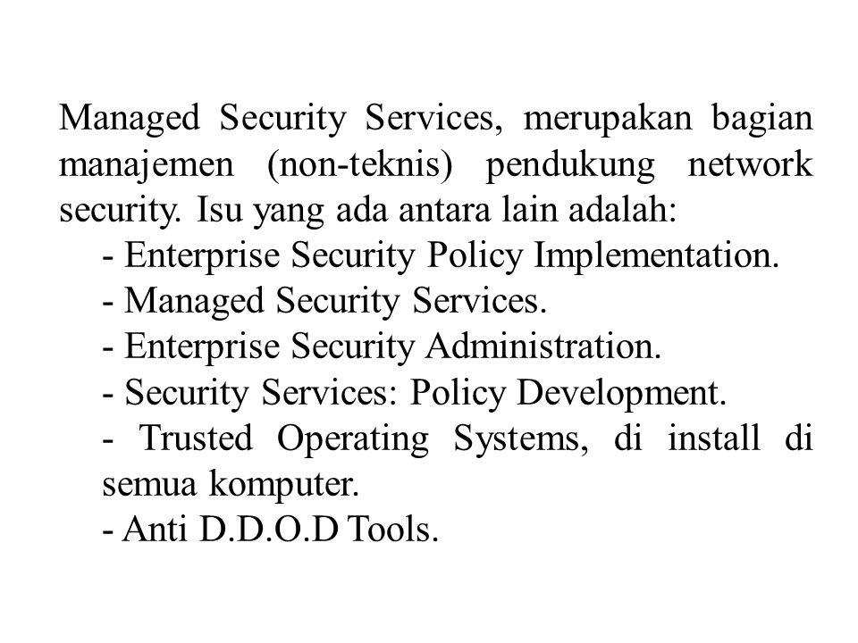 Managed Security Services, merupakan bagian manajemen (non-teknis) pendukung network security. Isu yang ada antara lain adalah: