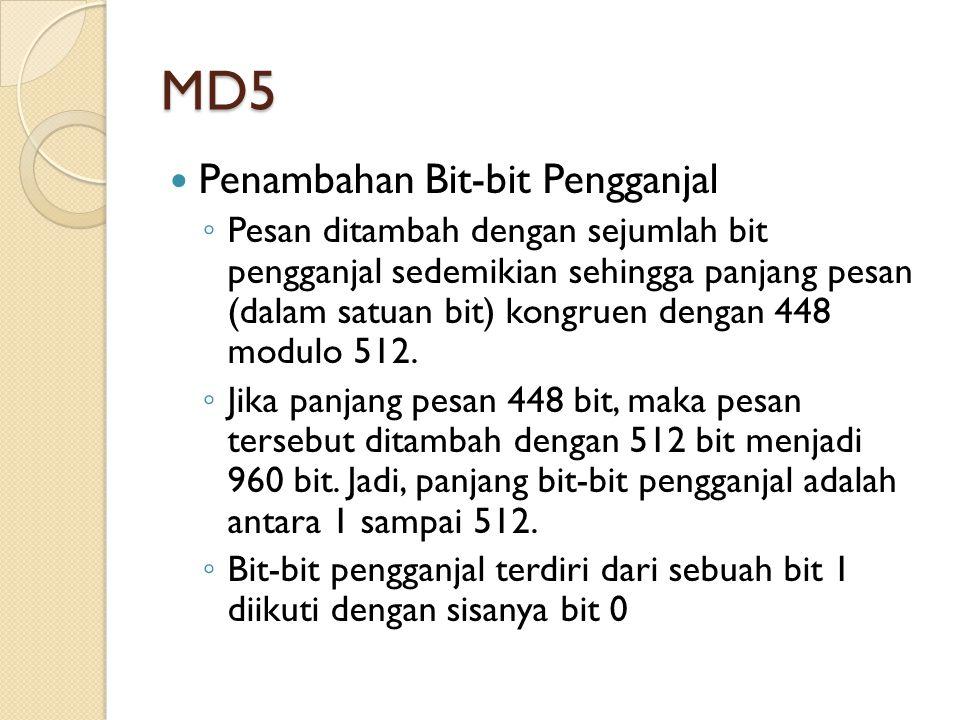 MD5 Penambahan Bit-bit Pengganjal