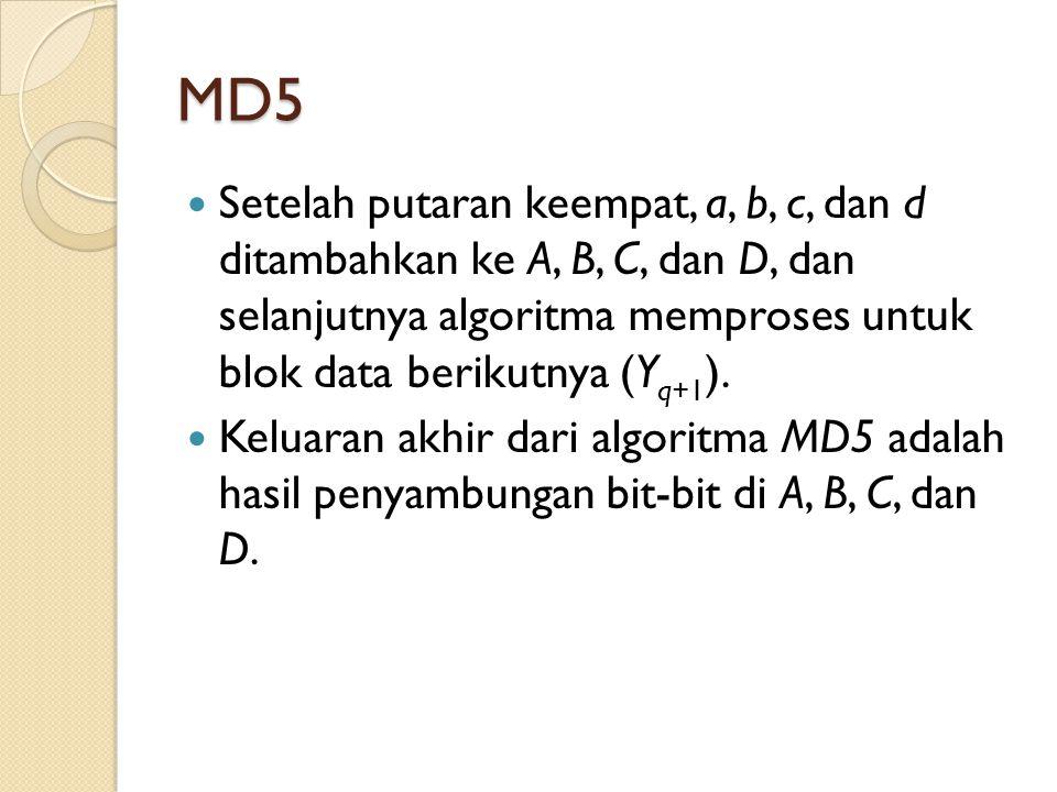 MD5 Setelah putaran keempat, a, b, c, dan d ditambahkan ke A, B, C, dan D, dan selanjutnya algoritma memproses untuk blok data berikutnya (Yq+1).
