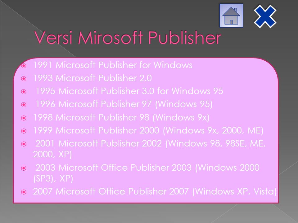 Versi Mirosoft Publisher