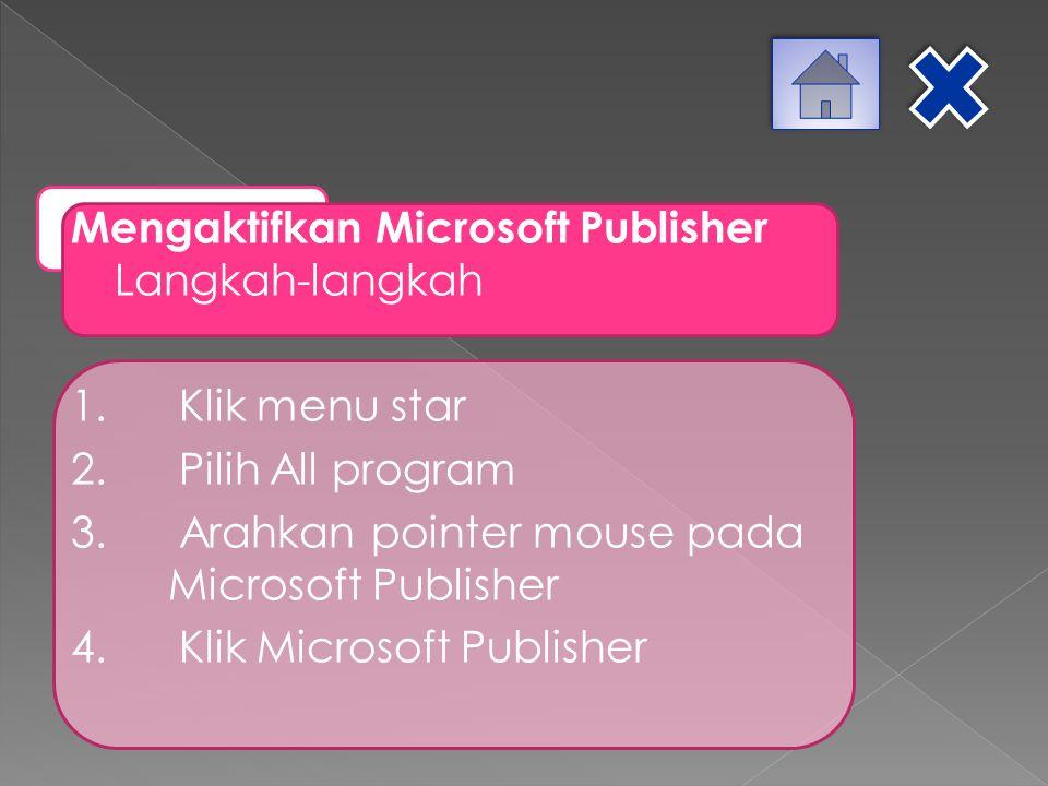 Mengaktifkan Microsoft Publisher Langkah-langkah 1. Klik menu star 2