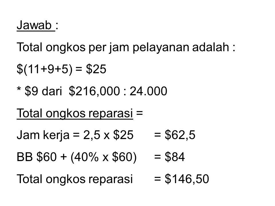 Jawab : Total ongkos per jam pelayanan adalah : $(11+9+5) = $25. * $9 dari $216,000 : 24.000. Total ongkos reparasi =