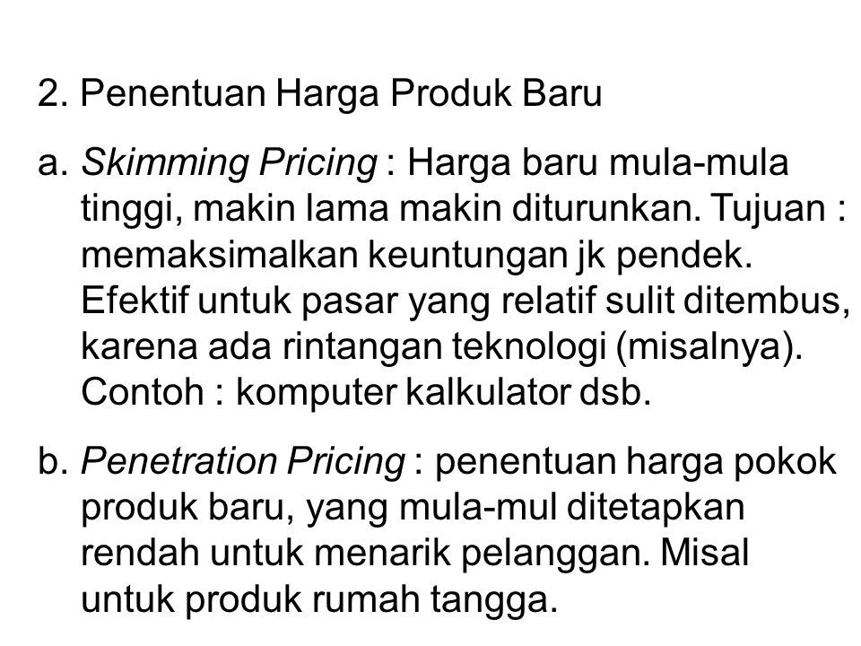 2. Penentuan Harga Produk Baru