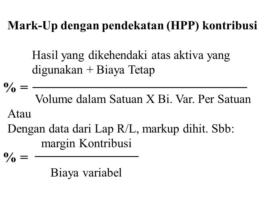 % = % = Mark-Up dengan pendekatan (HPP) kontribusi