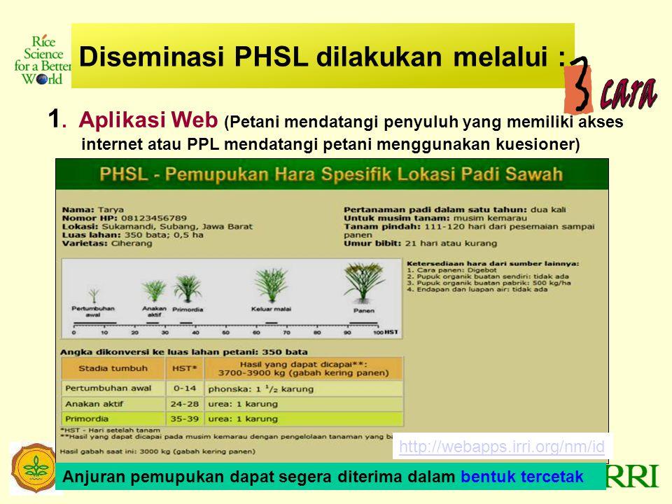Diseminasi PHSL dilakukan melalui :