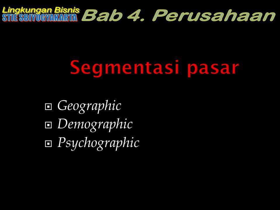 Segmentasi pasar Geographic Demographic Psychographic
