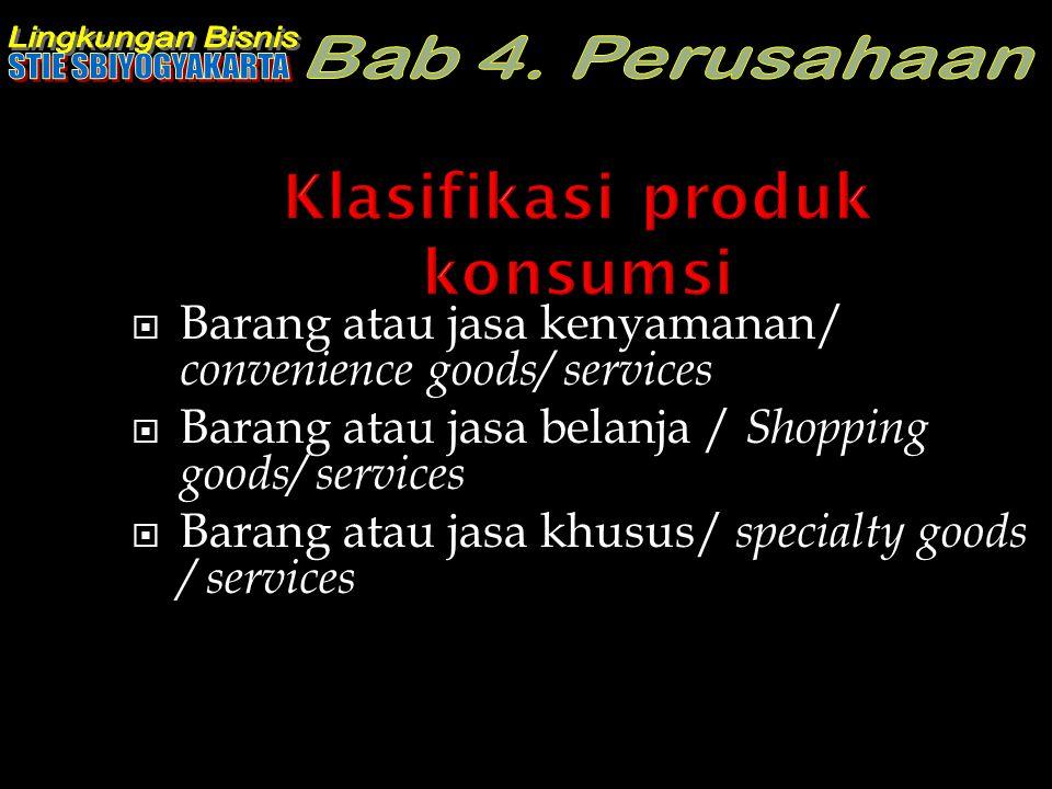 Klasifikasi produk konsumsi