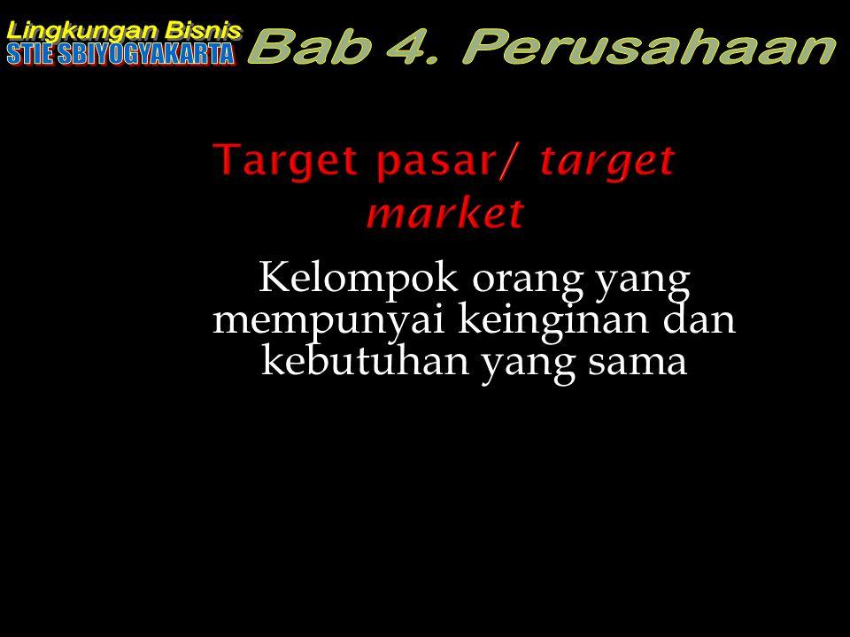 Target pasar/ target market