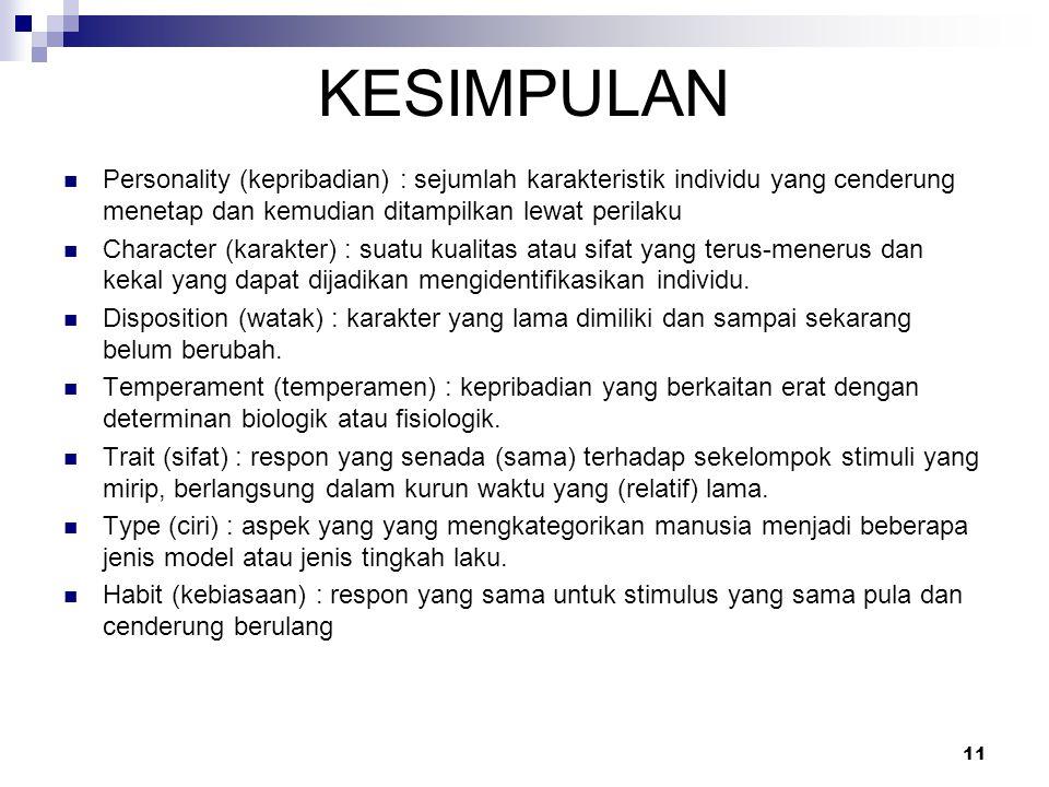 KESIMPULAN Personality (kepribadian) : sejumlah karakteristik individu yang cenderung menetap dan kemudian ditampilkan lewat perilaku.