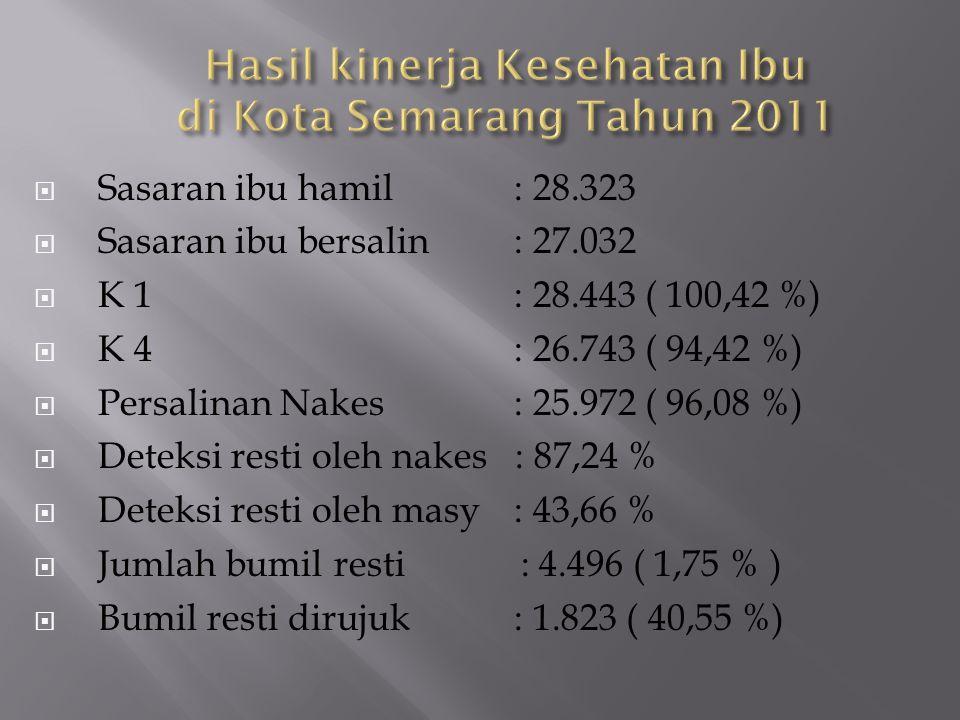 Hasil kinerja Kesehatan Ibu di Kota Semarang Tahun 2011