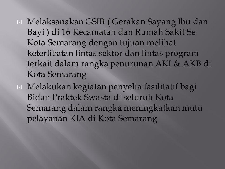 Melaksanakan GSIB ( Gerakan Sayang Ibu dan Bayi ) di 16 Kecamatan dan Rumah Sakit Se Kota Semarang dengan tujuan melihat keterlibatan lintas sektor dan lintas program terkait dalam rangka penurunan AKI & AKB di Kota Semarang