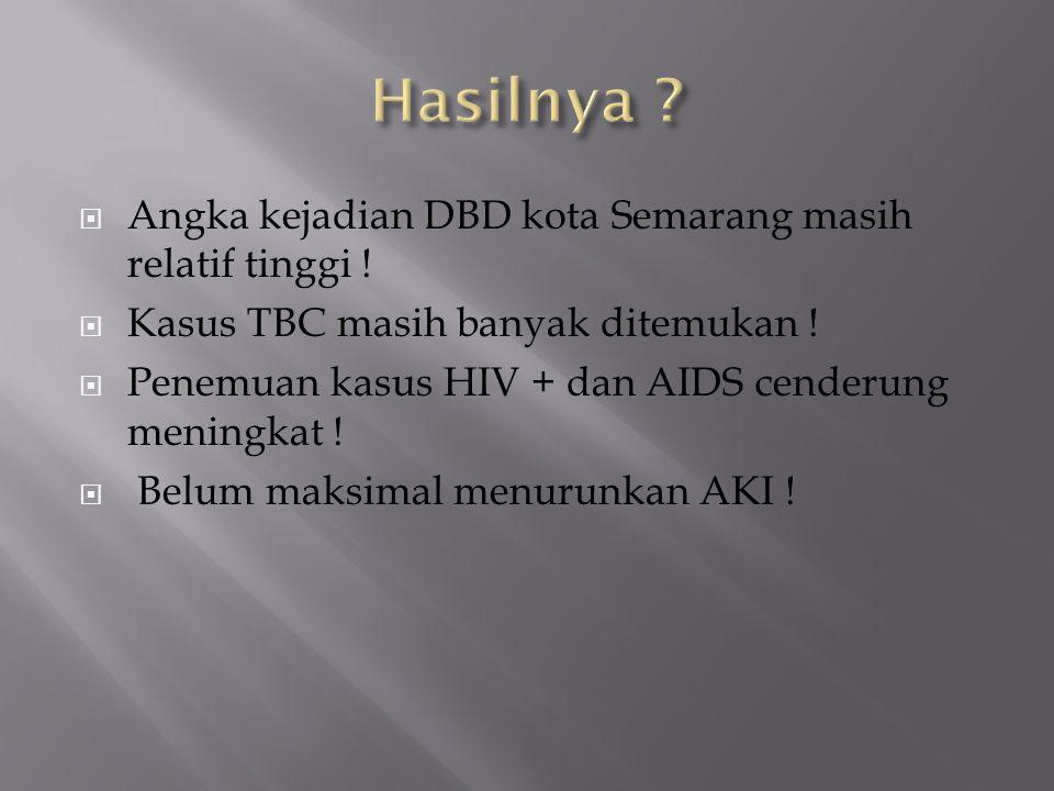 Hasilnya Angka kejadian DBD kota Semarang masih relatif tinggi !