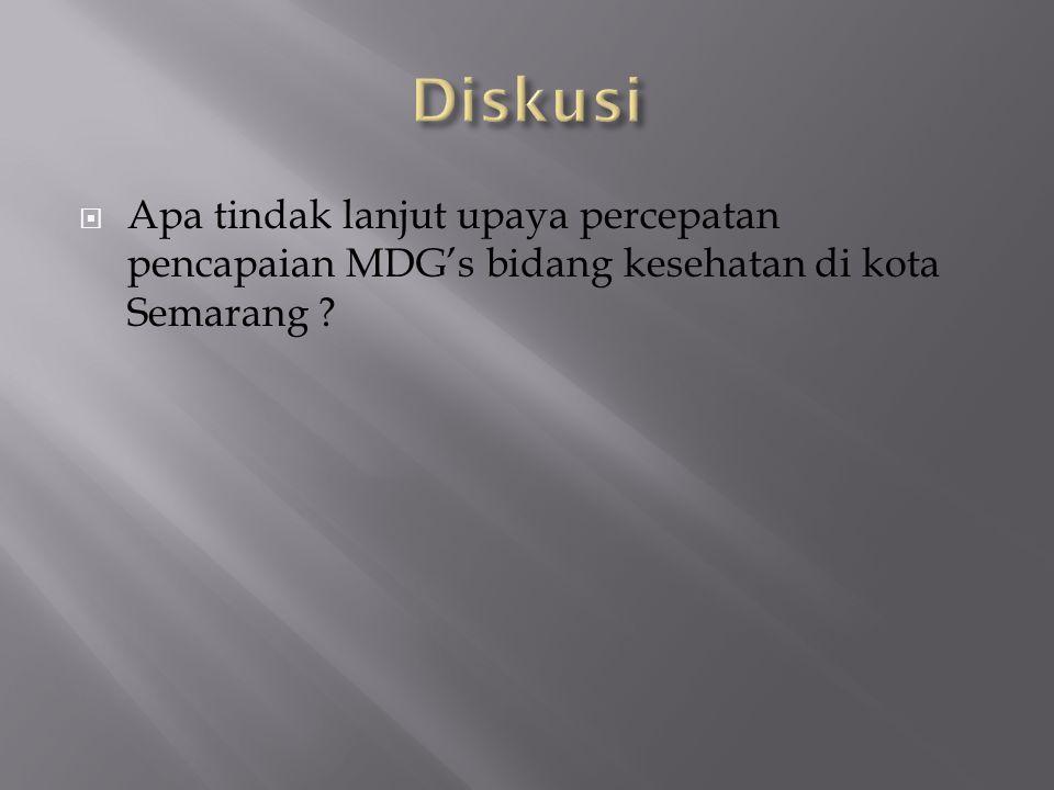 Diskusi Apa tindak lanjut upaya percepatan pencapaian MDG's bidang kesehatan di kota Semarang