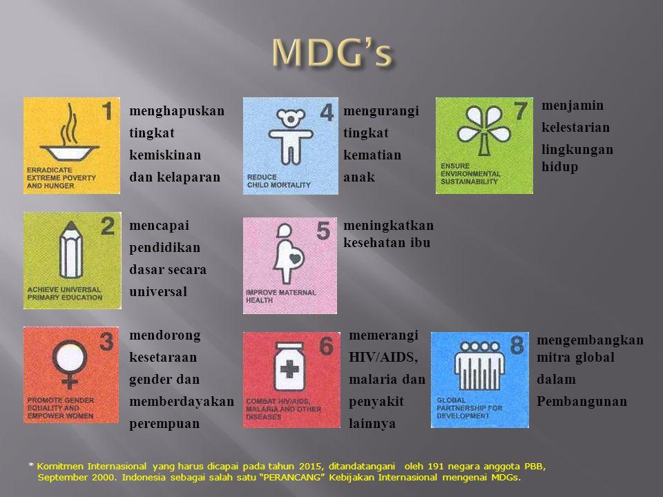 MDG's menjamin kelestarian lingkungan hidup menghapuskan tingkat