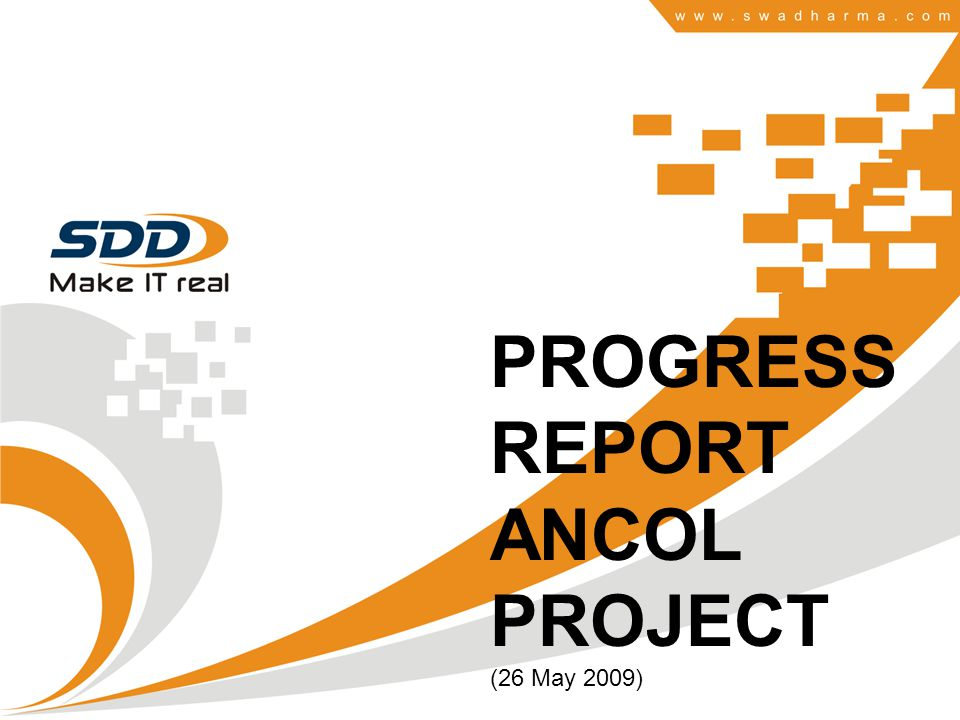 PROGRESS REPORT ANCOL PROJECT (26 May 2009)
