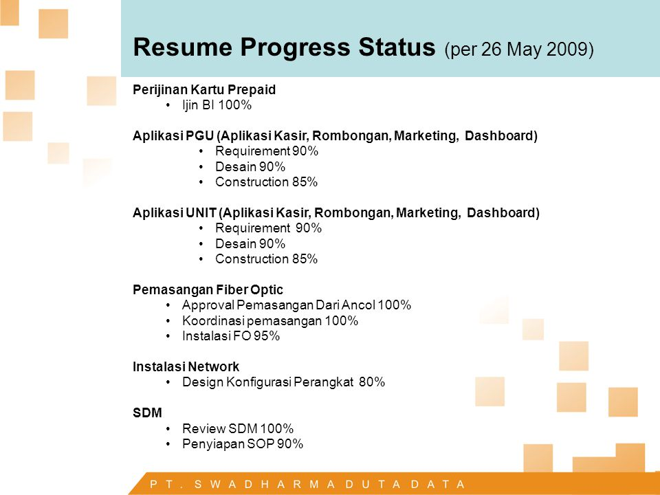 Resume Progress Status (per 26 May 2009)