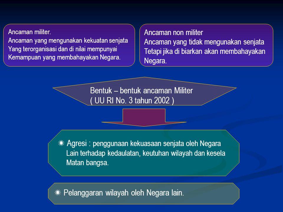 Bentuk – bentuk ancaman Militer ( UU RI No. 3 tahun 2002 )