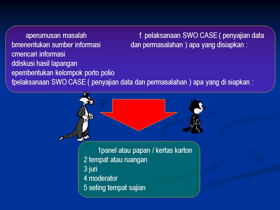 perumusan masalah f. pelaksanaan SWO CASE ( penyajian data