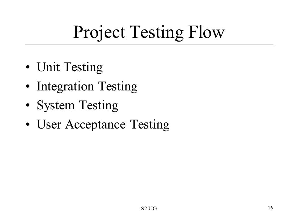 Project Testing Flow Unit Testing Integration Testing System Testing