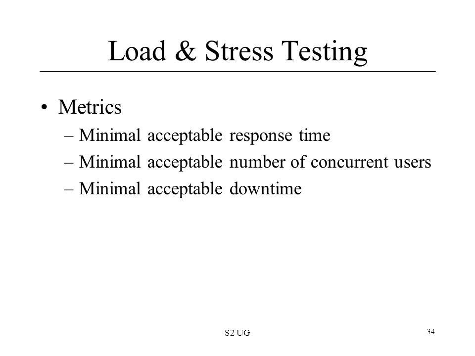 Load & Stress Testing Metrics Minimal acceptable response time