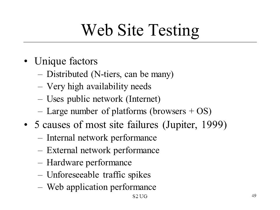 Web Site Testing Unique factors
