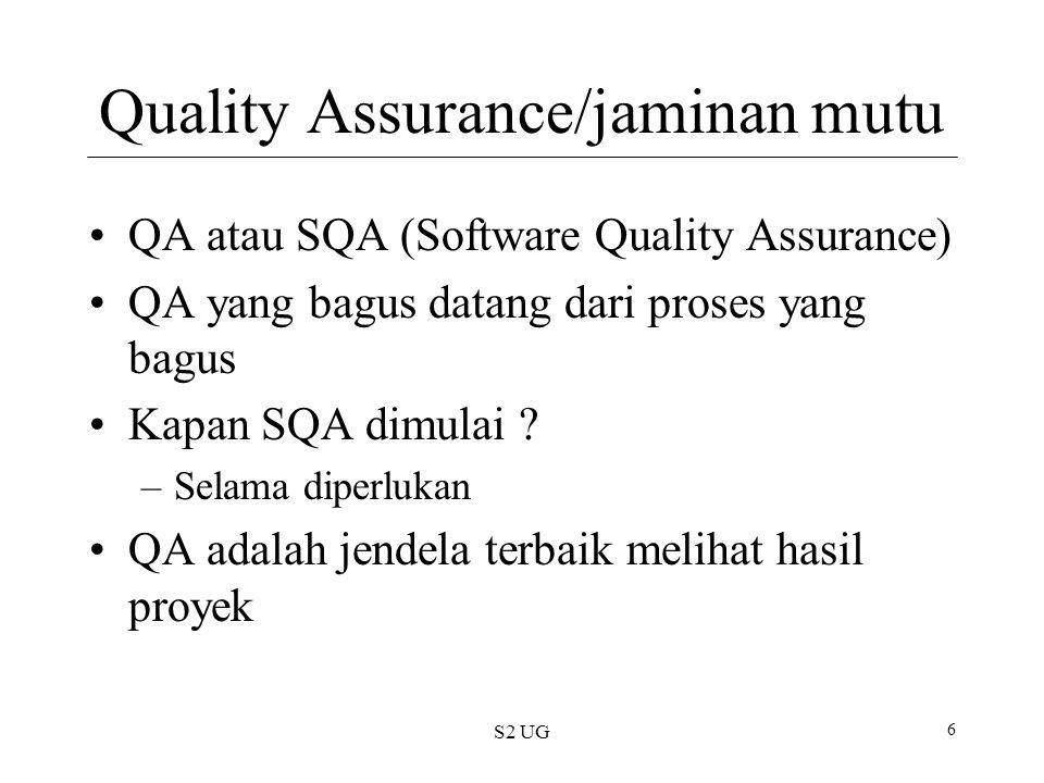 Quality Assurance/jaminan mutu