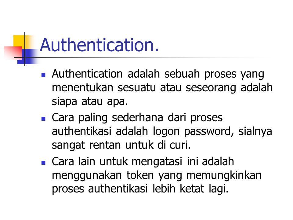 Authentication. Authentication adalah sebuah proses yang menentukan sesuatu atau seseorang adalah siapa atau apa.