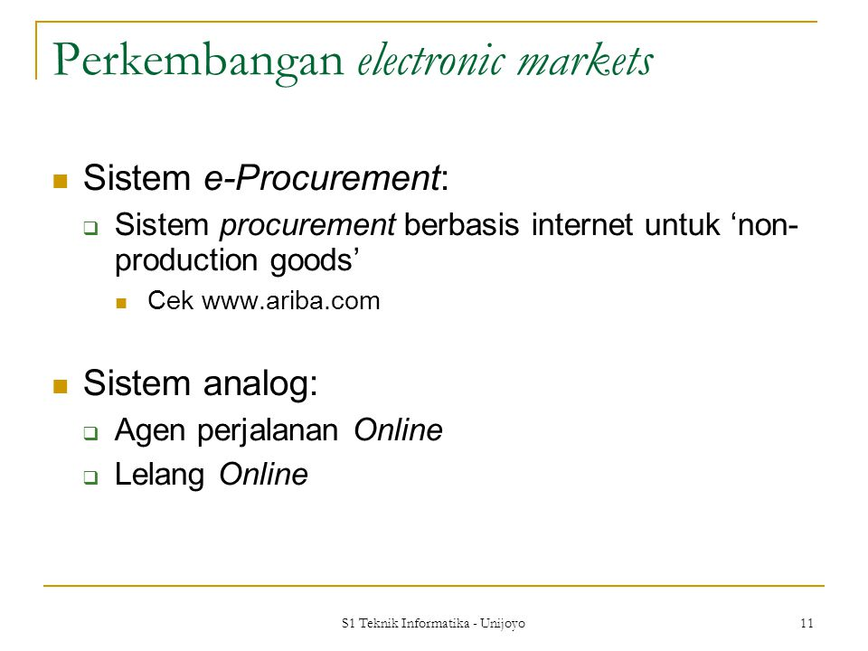 Perkembangan electronic markets