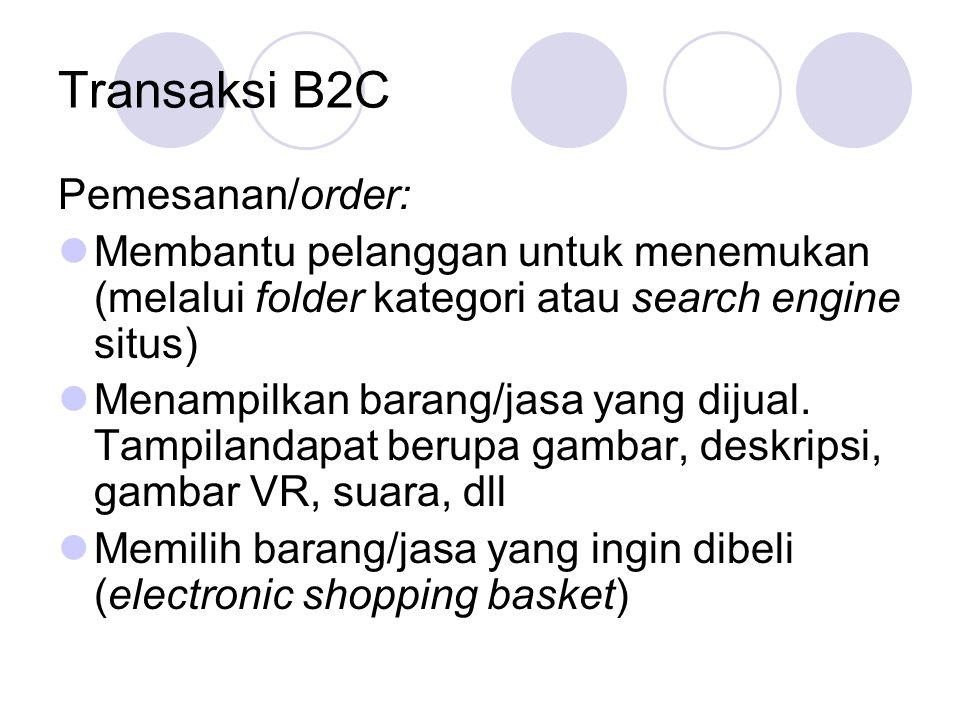 Transaksi B2C Pemesanan/order: