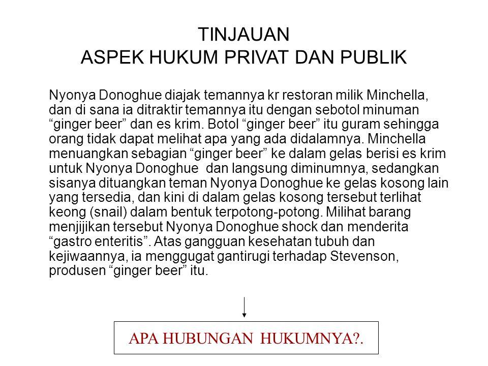 TINJAUAN ASPEK HUKUM PRIVAT DAN PUBLIK
