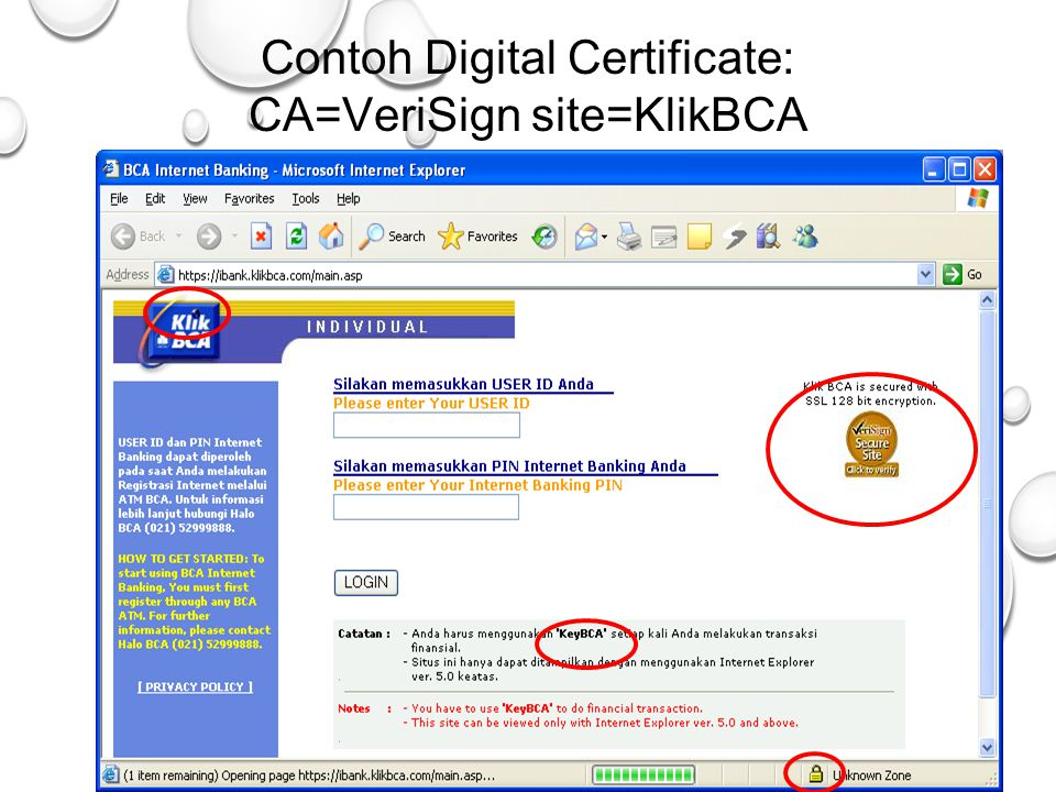 Contoh Digital Certificate: CA=VeriSign site=KlikBCA