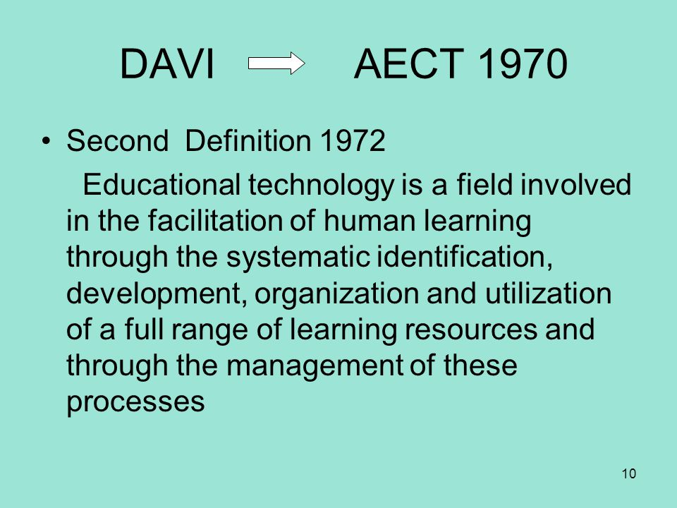 DAVI AECT 1970 Second Definition 1972