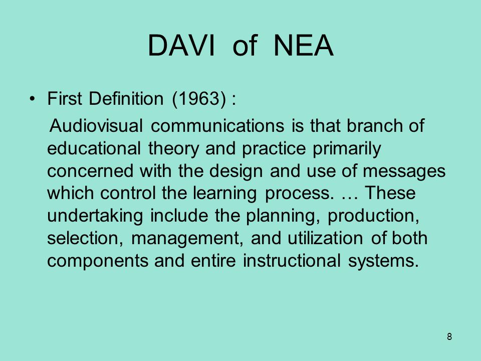 DAVI of NEA First Definition (1963) :