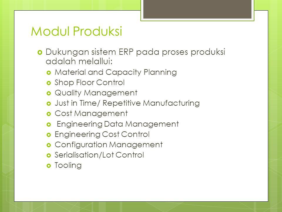 Modul Produksi Dukungan sistem ERP pada proses produksi adalah melallui: Material and Capacity Planning.