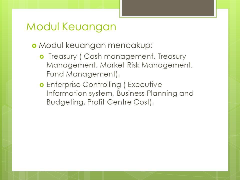 Modul Keuangan Modul keuangan mencakup: