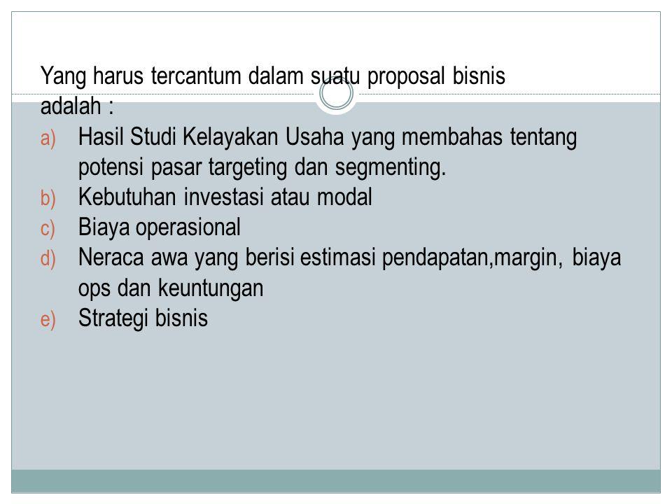 Yang harus tercantum dalam suatu proposal bisnis
