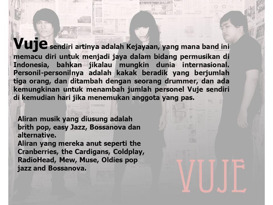 Vuje sendiri artinya adalah Kejayaan, yang mana band ini memacu diri untuk menjadi jaya dalam bidang permusikan di Indonesia, bahkan jikalau mungkin dunia internasional. Personil-personilnya adalah kakak beradik yang berjumlah tiga orang, dan ditambah dengan seorang drummer, dan ada kemungkinan untuk menambah jumlah personel Vuje sendiri di kemudian hari jika menemukan anggota yang pas.