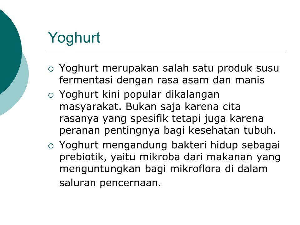 Yoghurt Yoghurt merupakan salah satu produk susu fermentasi dengan rasa asam dan manis.