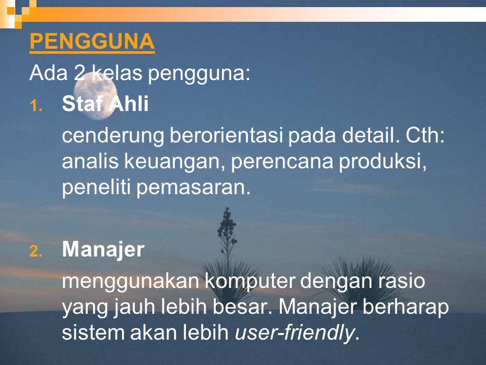 PENGGUNA Ada 2 kelas pengguna: Staf Ahli. cenderung berorientasi pada detail. Cth: analis keuangan, perencana produksi, peneliti pemasaran.